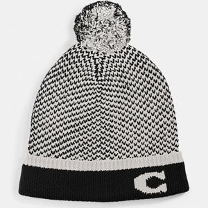 Coach Knit Pom Pom Hat/Toboggan, Black Signature C